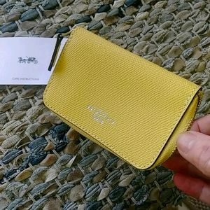 Vintage Coach ZIP Yellow Leather Cardcase 1990's